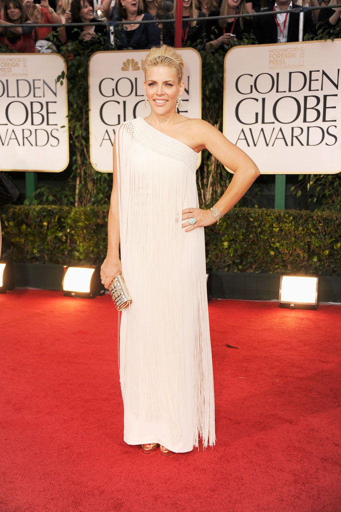 Busy Philipps in a white dress at the Golden Globes.