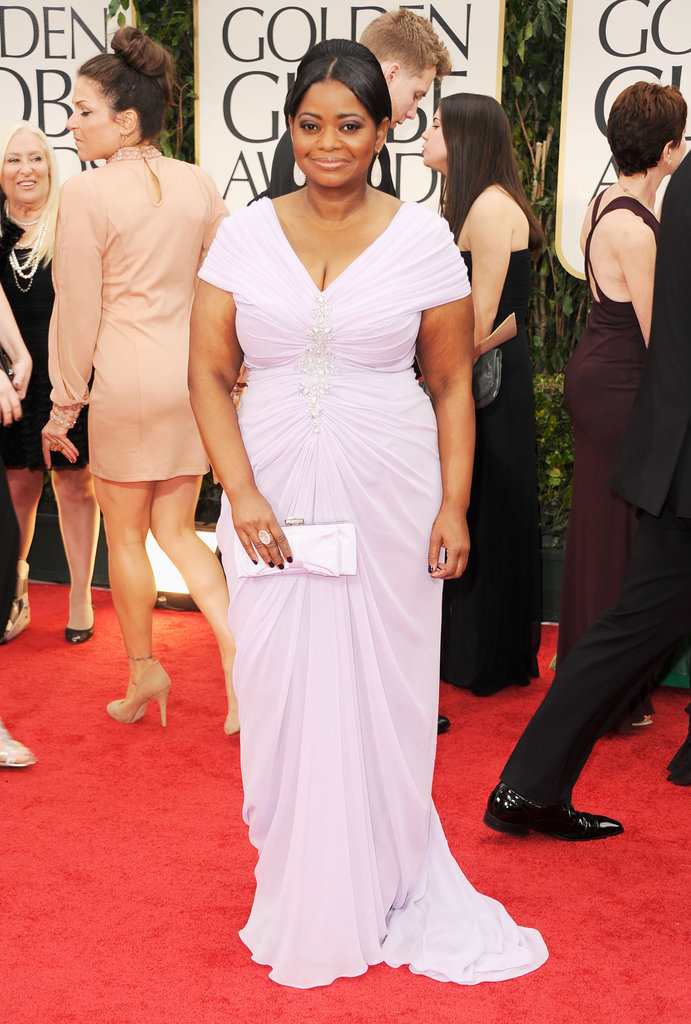 Octavia Spencer on the red carpet at the Golden Globes.