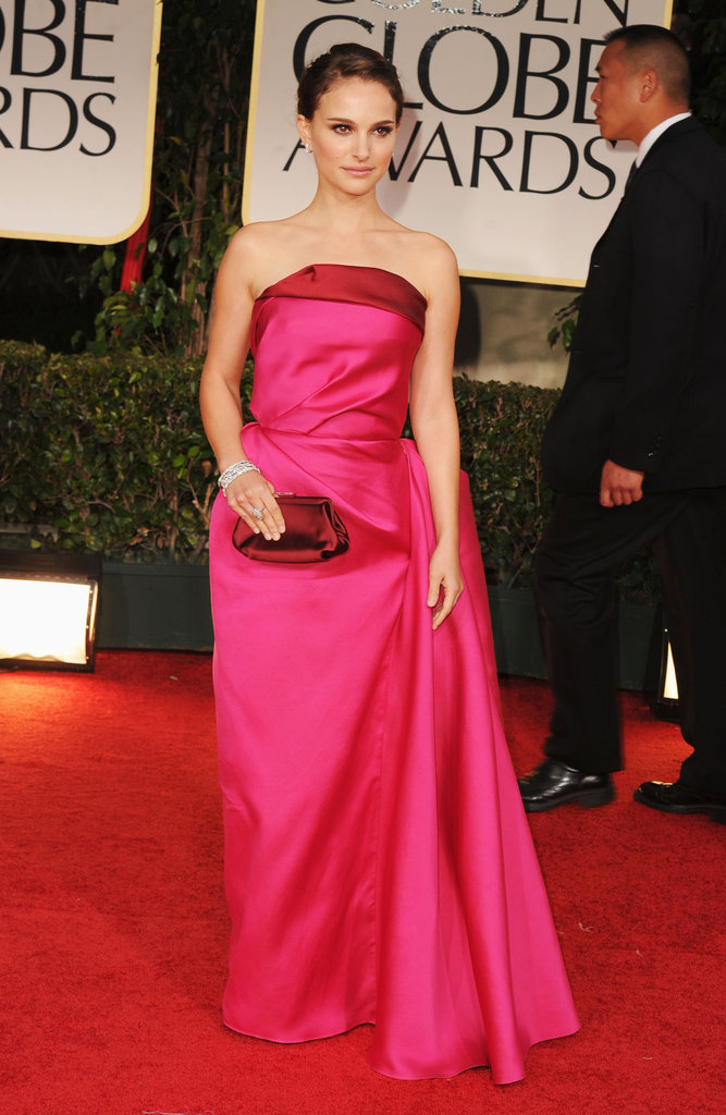 Natalie Portman was in pink for the 2012 Golden Globe Awards.