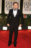 Leonardo DiCaprio wore a tuxedo to the 2012 Golden Globe Awards.