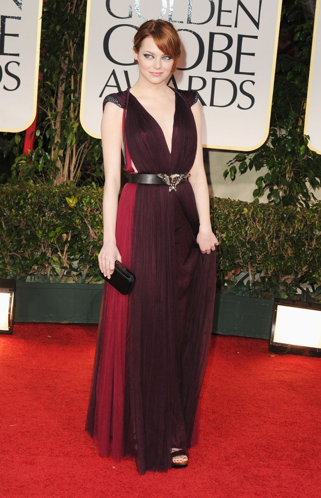 Emma Stone belted her Lanvin dress at the 2012 Golden Globe Awards.