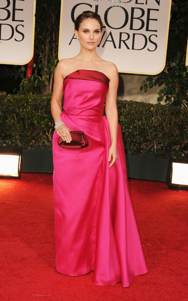 Natalie Portman arrived at the Golden Globe Awards in Lanvin.