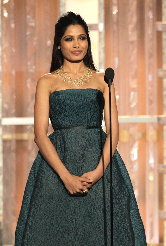 Freida Pinto was in a green dress at the 2012 Golden Globe Awards.