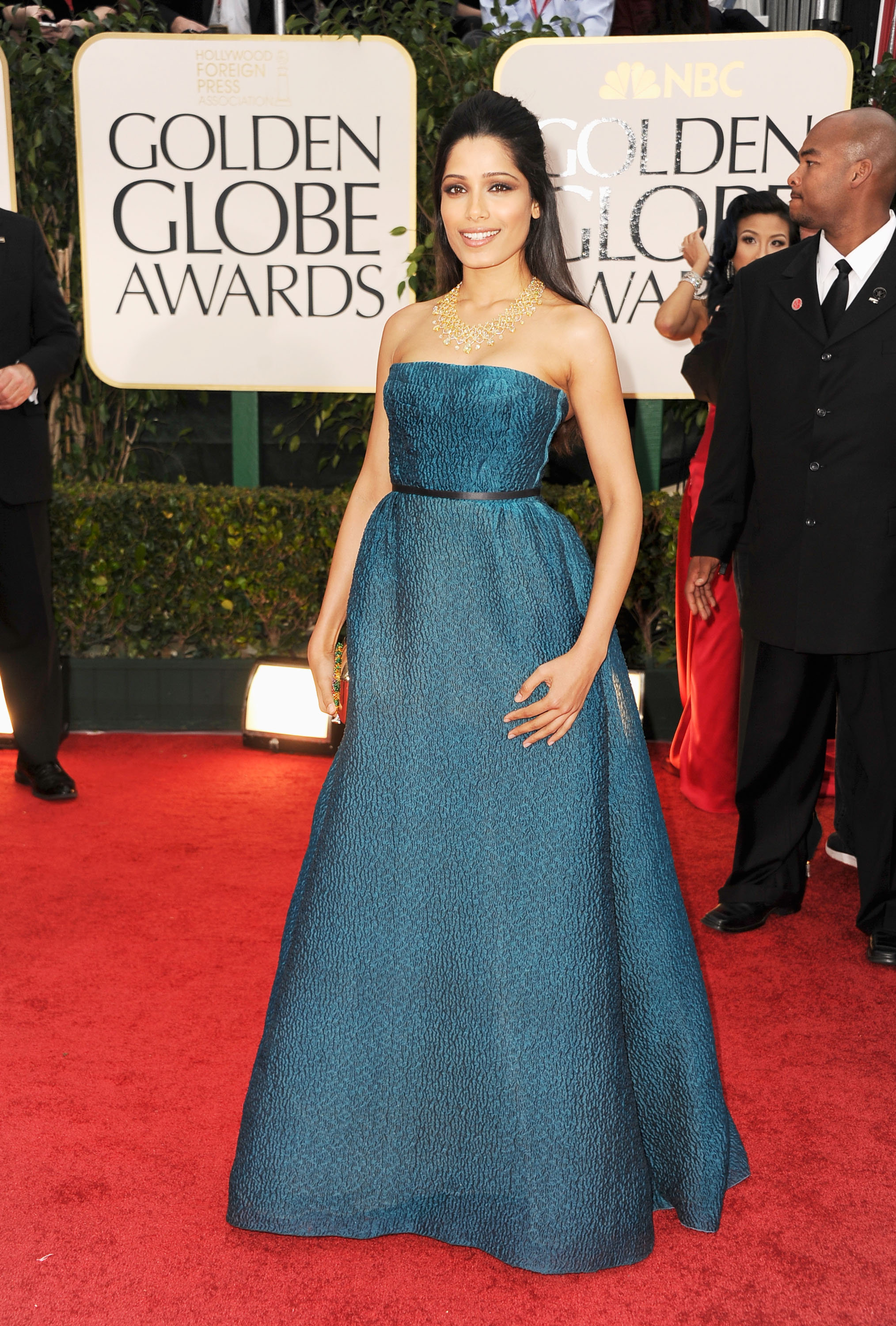 Freida Pinto at the Golden Globes.