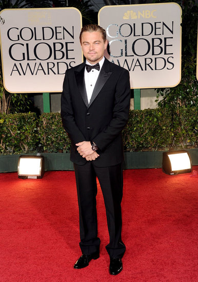 Leonardo DiCaprio hit the red carpet in a black tuxedo.