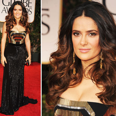 Salma Hayek at Golden Globes 2012