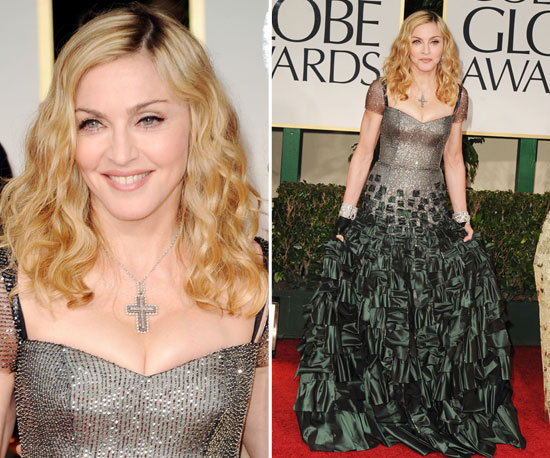 Madonna is never one to go with the masses, and her Golden Globes look spoke to that truth. For the night's festivities, Madonna wore a sequined silver and green bodice gown by Reem Acra, complete with fingerless gloves — only she can pull off fingerless gloves on the red carpet.