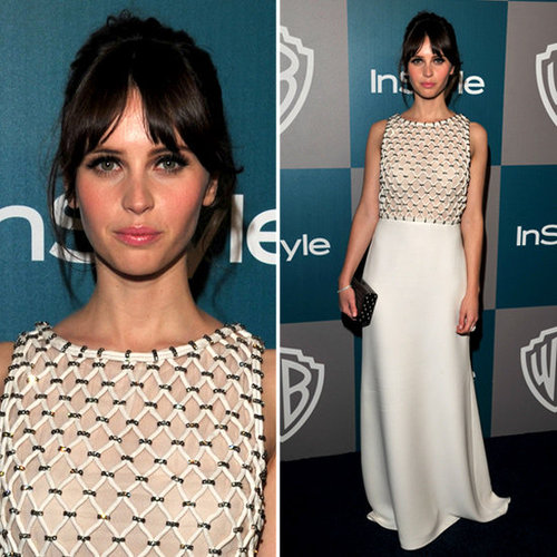 Style Crush Felicity Jones Shows How To Wear White on The Red Carpet at the 2012 Golden Globes