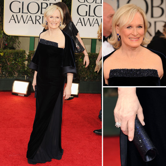 Glenn Close looked dazzling in a black gown with beaded trim.