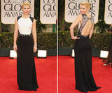 We're kicking off a night of megawatt glamour at the Golden Globes with the beautiful Claire Danes. The actress stepped out onto the red carpet in an ultra-elegant black-and-white J. Mendel gown, complete with sequin embellishments at the shoulders and waist.