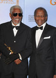 Morgan Freeman and Sidney Poitier pose together after Morgan receives his Golden Globe.