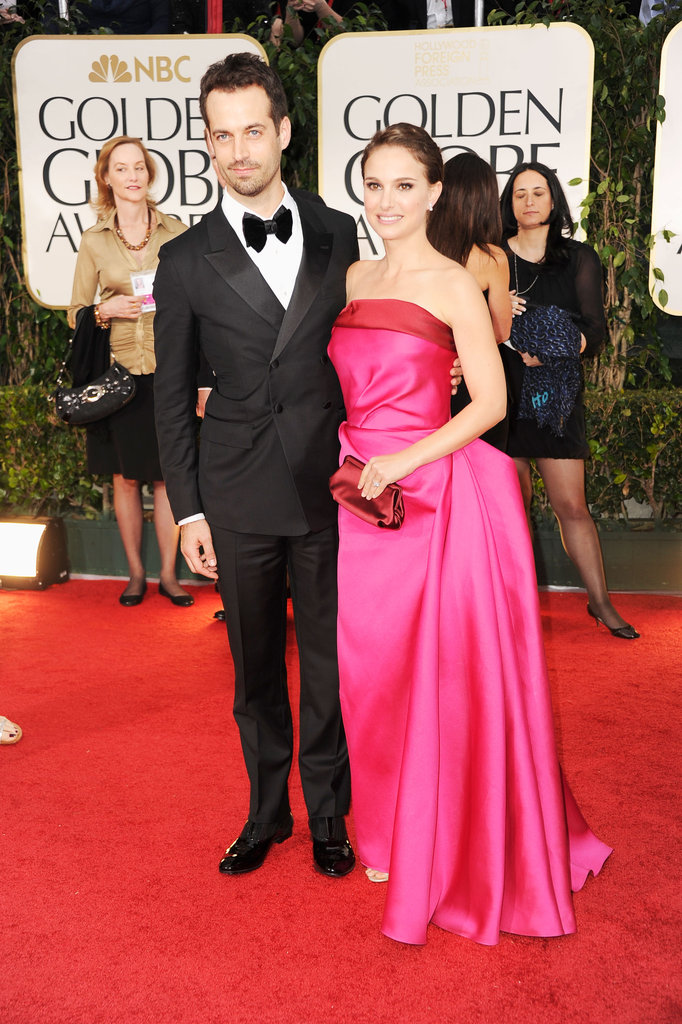 Natalie Portman and her fiancé walk the carpet.