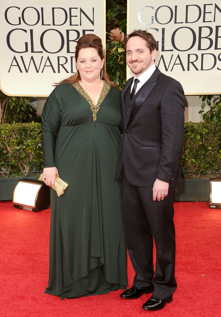 Bridesmaids costars Melissa McCarthy and Ben Falcone arrive.