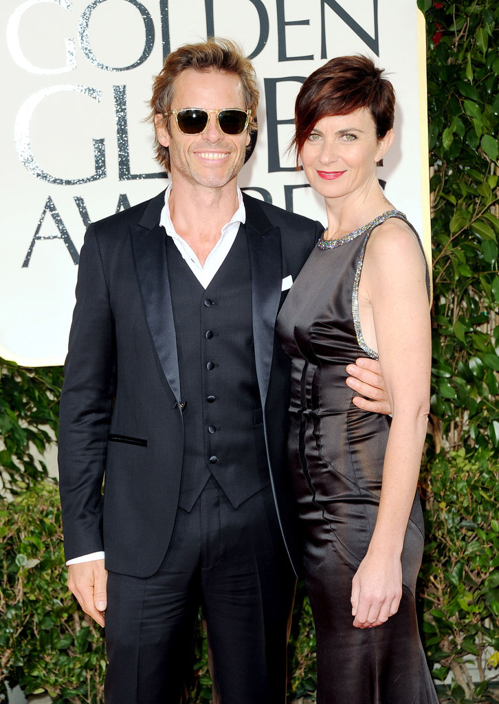 Guy Pearce and wife Kate Mestitz look ready to party.