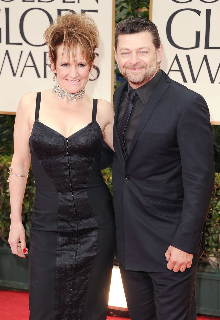 Andy Serkis and Lorraine Ashbourne walk into the Golden Globes.