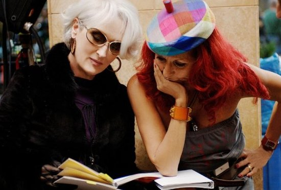 With Patricia Field on the set of The Devil Wears Prada in 2006.