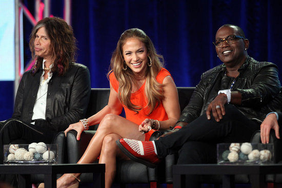 Steven Tyler, Jennifer Lopez, and Randy Jackson at American Idol panel during 2012 TCAs.