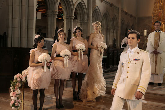 Nan Zhang as Kati, Amanda Setton as Penelope, Blake Lively as Serena van der Woodsen and Hugo Becker as Louis on Gossip Girl.  Photo courtesy of The CW