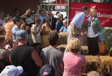 Rick Perry kisses his wife at the Iowa State Fair.