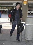 Ian grabbed a ride out of LAX.