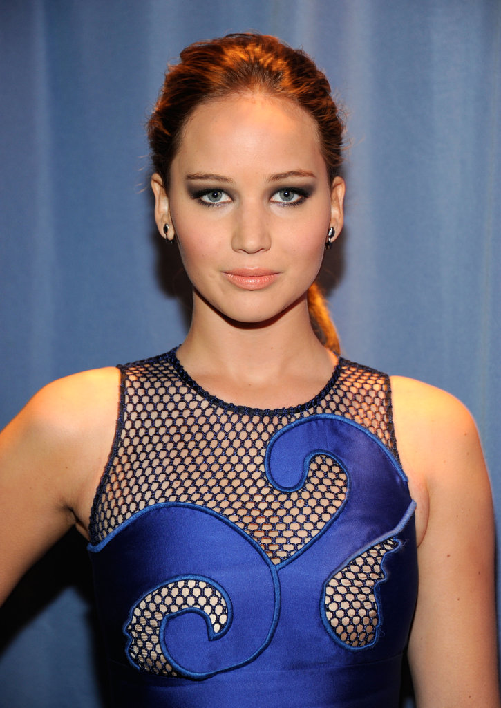 Jennifer Lawrence in a blue dress at the 2012 People's Choice Awards.