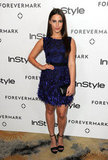 Jessica Lowndes played with texture and moody blue hues on her minidress.
