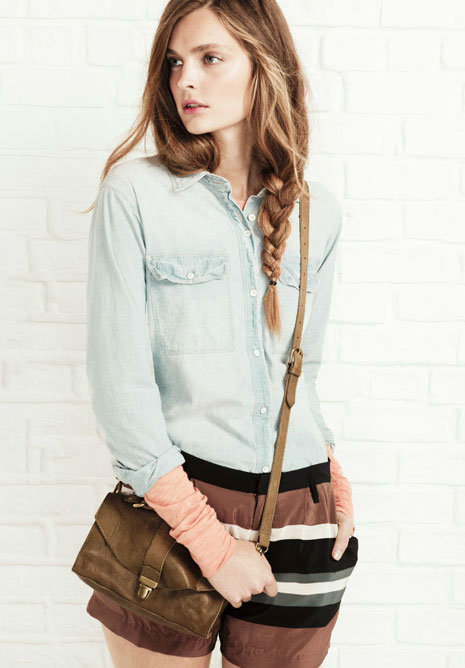 We love the mix of pretty shorts and utilitarian denim on top. Just add tights and field boots for Winter.  Shop the look