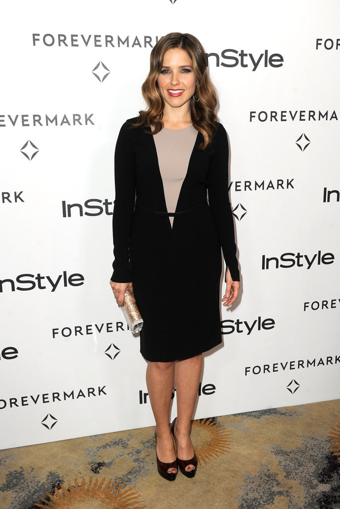 Sophia Bush took the sophisticated route with a black and nude sheath dress.