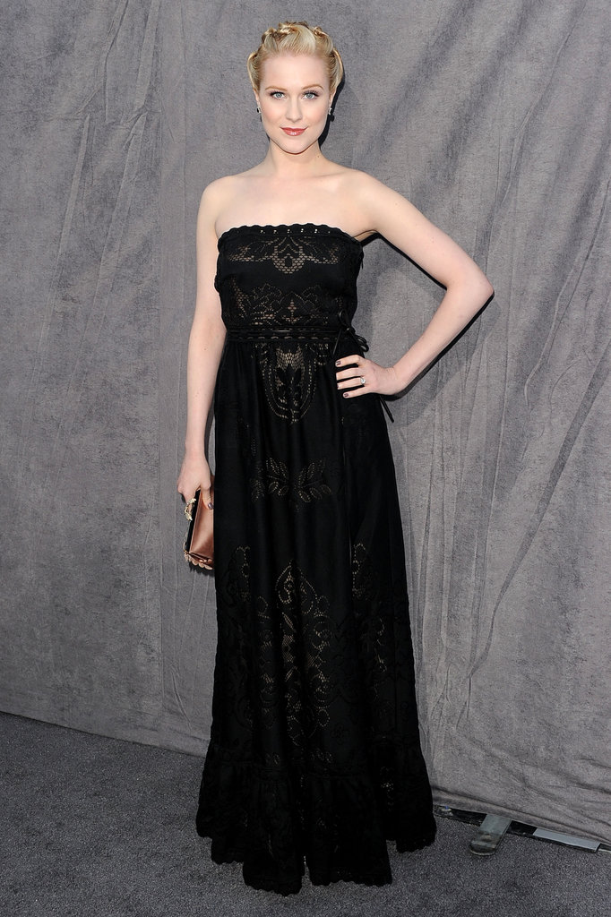 Evan Rachel Wood arrived in a strapless Valentino dress.