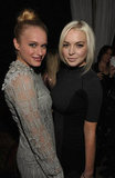 Lindsay Lohan and Leven Rambin chatted it up at the Weinstein Company's award season party.
