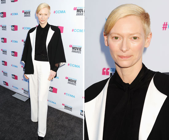 Pictures of Tilda Swinton in a Black and White Suit at the  2012 Critics' Choice Awards
