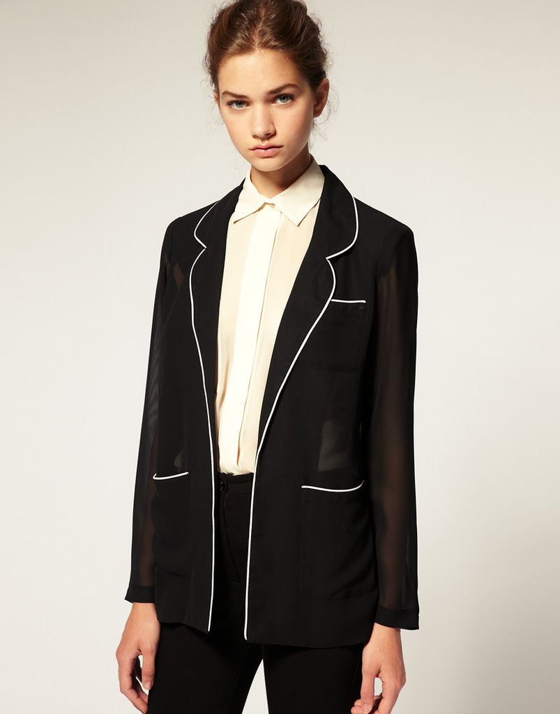 Get in on the menswear-inspired tuxedo trend with a soft, seasonless layering blazer. ASOS Piped Soft Blazer ($34, originally $63)
