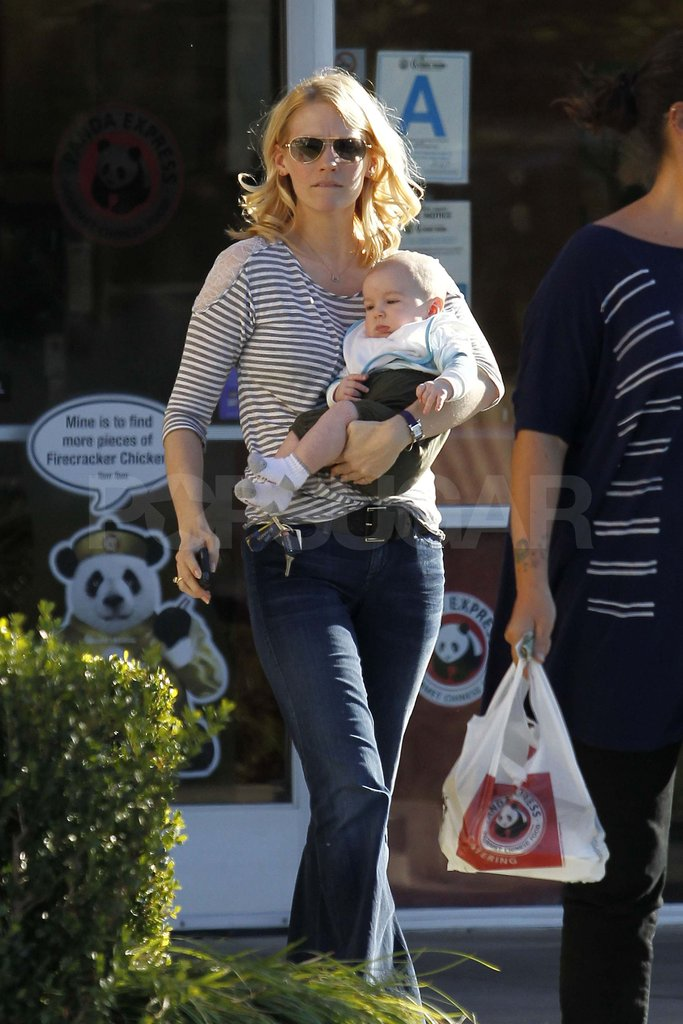 January Jones with 4-month-old Xander Jones.