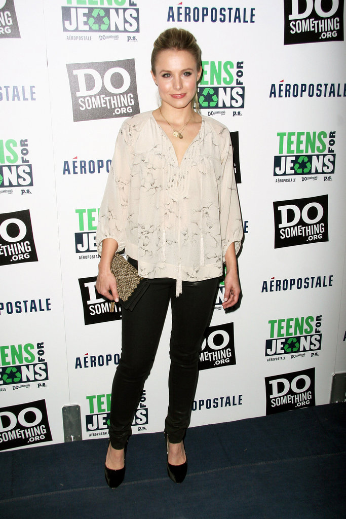 Kristen Bell styled up event-worthy separates with a lovely printed top and skinny pants.