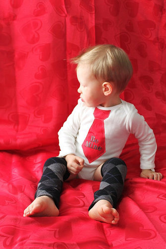 "Favorite Like this item?  Add it to your favorites to revisit it later. Valentine's Day ""Be Mine"" Tie Onesie and Leg Warmers Set"