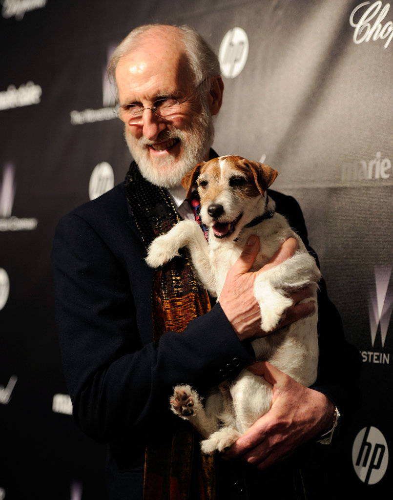 Party animals: Uggie poses with costar James Cromwell at The Weinstein Company Golden Globes afterparty.