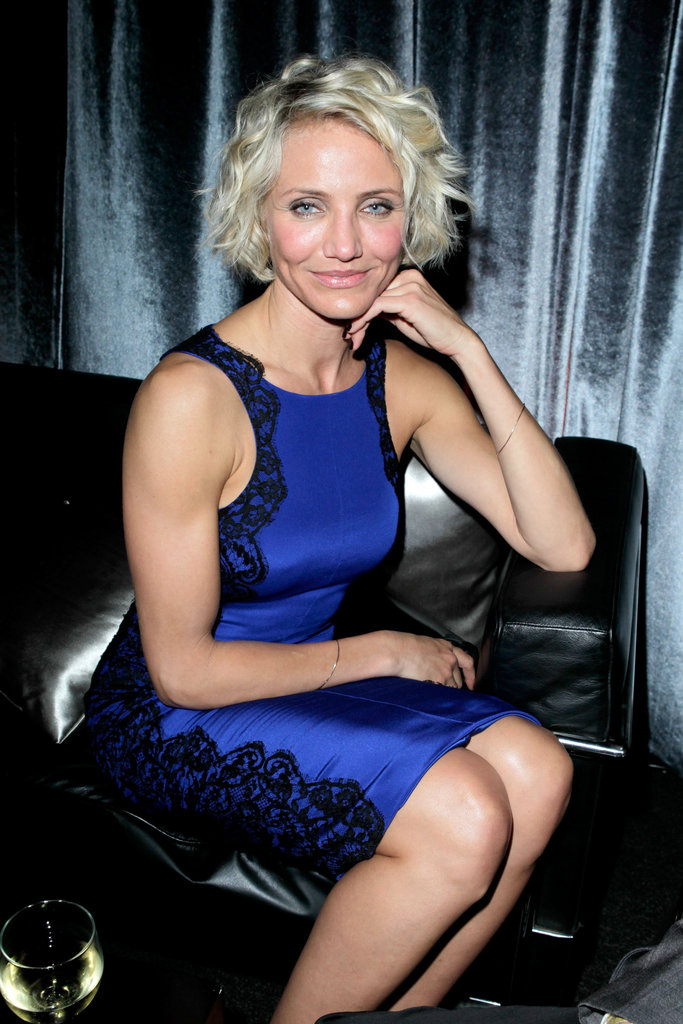 Cameron Diaz took a seat at the Weinstein Company's Golden Globes after party.