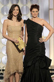 Katherine McPhee and Debra Messing at the Golden Globes.