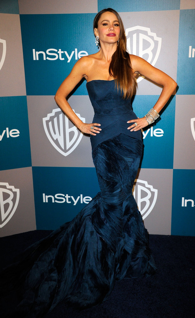 Sofia Vergara wore Vera Wang to InStyle's Golden Globes afterparty.