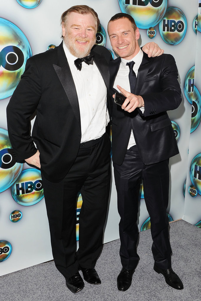 Brendan Gleeson and Michael Fassbender arrived at HBO's post-Golden Globes party.