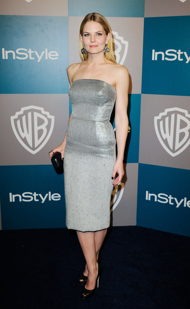 Jennifer Morrison wore a gray tube top dress to InStyle's Golden Globes afterparty.