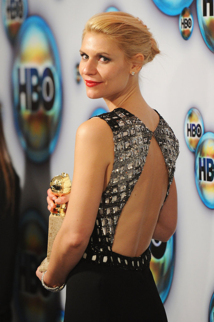 Claire Danes arrived at HBO's post-Golden Globes party.