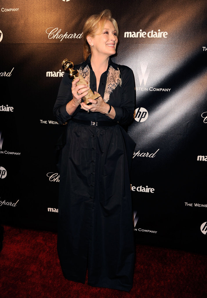 Meryl Streep proudly held her Golden Globe.