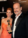 Kelsey Grammer and pregnant Kayte Walsh were together at the Golden Globes after parties.