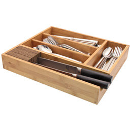 The Container Store > Bamboo Cutlery Tray with Knife Dock