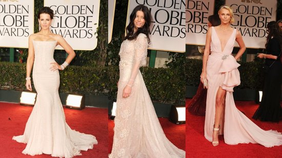 Champagne Gowns Dominate the Red Carpet at the 2012 Golden Globes