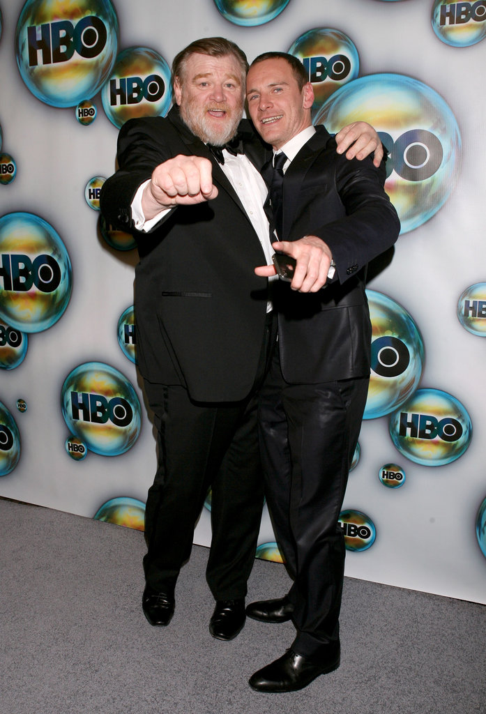 Brandan Gleeson and Michael Fassbender let loose at HBO's afterparty.