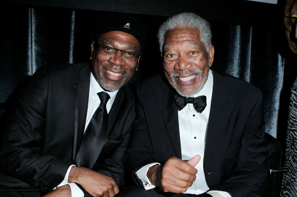 Morgan Freeman and his son Alfonso Freeman attend a Golden Globes afterparty.