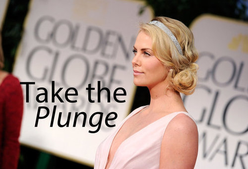 Emma Stone, Lea Michele, Charlize Theron and More All Choose Plunging Necklines for the 2012 Golden Globes