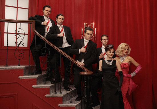 Hugo Becker as Louis, Penn Badgley as Dan, Ed Westwick as Chuck, Chace Crawford as Nate, Leighton Meester as Blair, and Blake Lively as Serena on Gossip Girl.  Photo courtesy of The CW